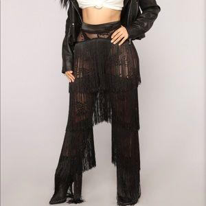 Trendy Black Fringed Pants